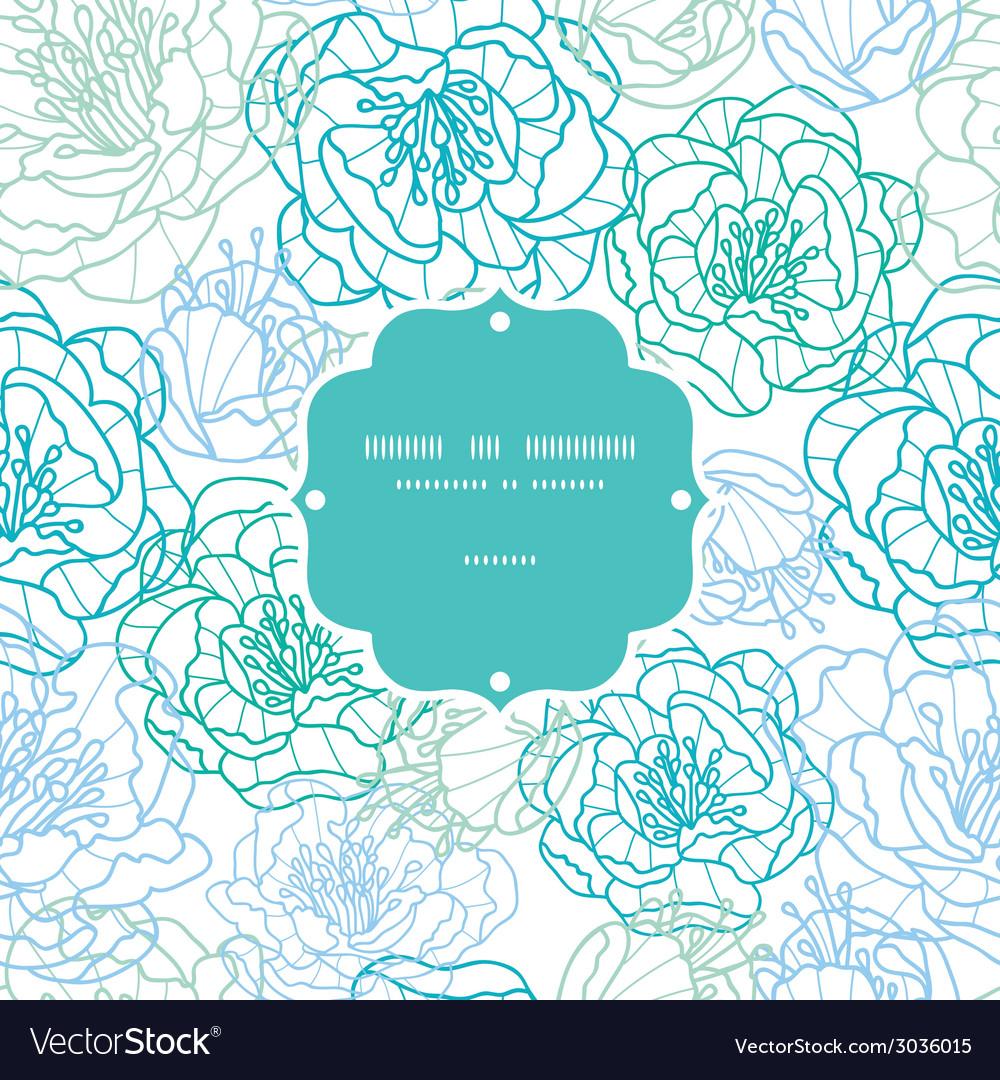 Blue line art flowers frame seamless pattern vector | Price: 1 Credit (USD $1)