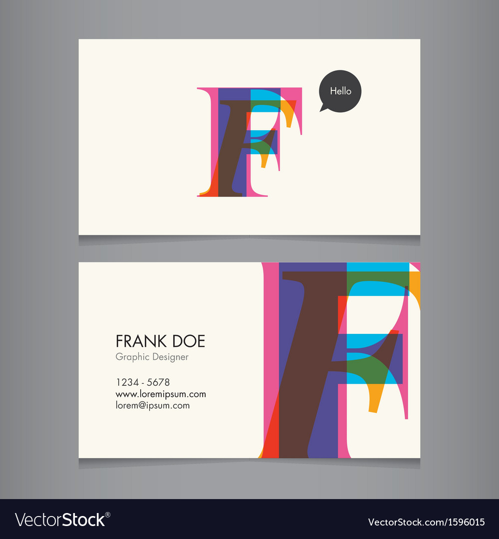 Business card template letter f vector | Price: 1 Credit (USD $1)