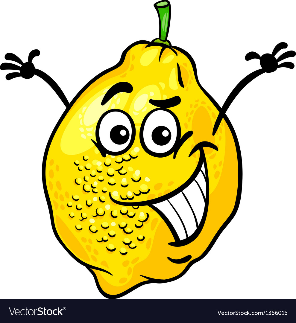 Funny lemon fruit cartoon vector | Price: 1 Credit (USD $1)