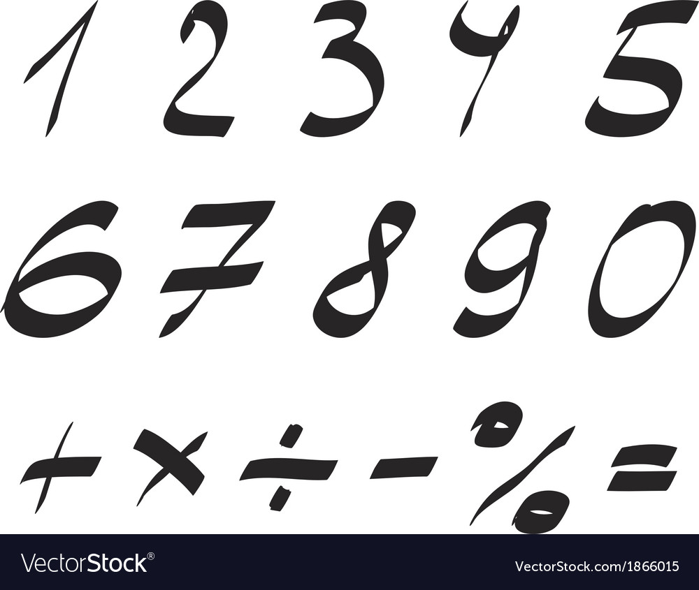 Handwritten font arabic numerals set vector | Price: 1 Credit (USD $1)