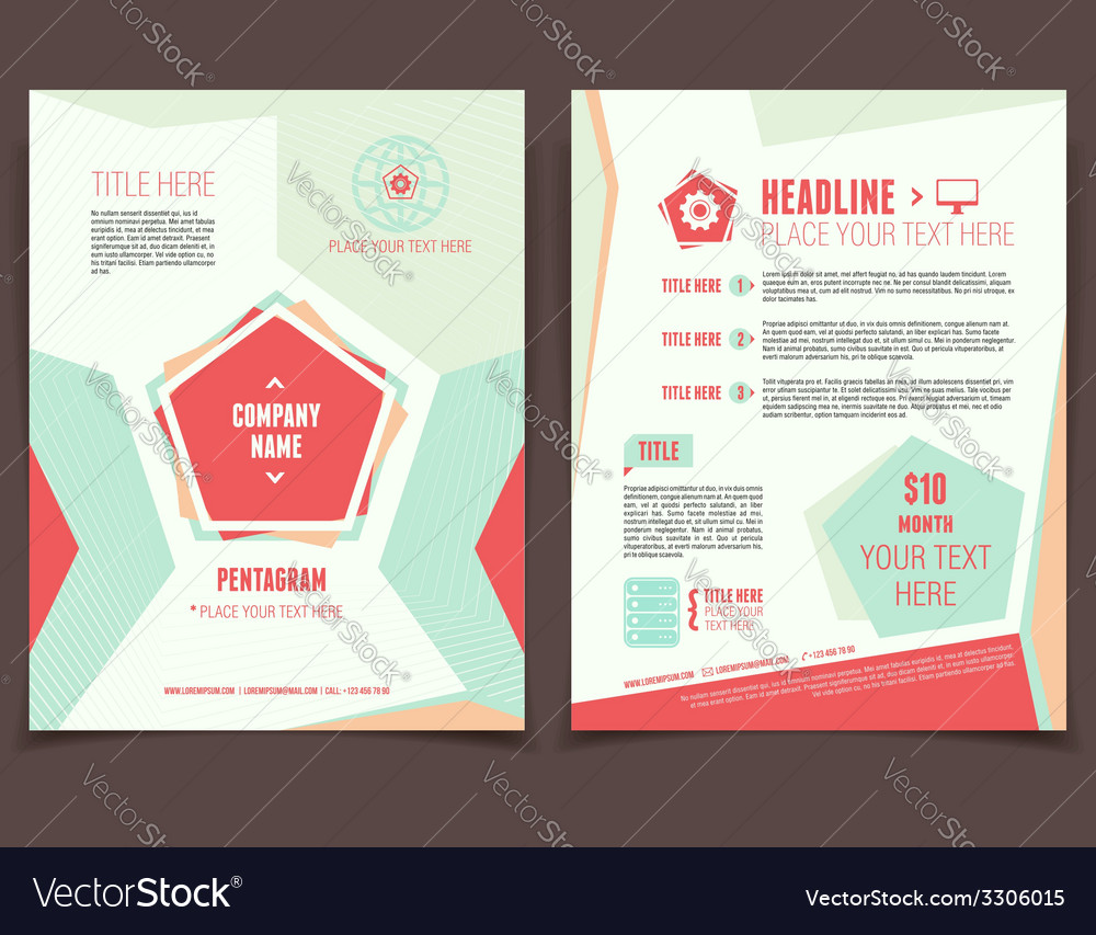 Pentagram business flyer vector | Price: 1 Credit (USD $1)