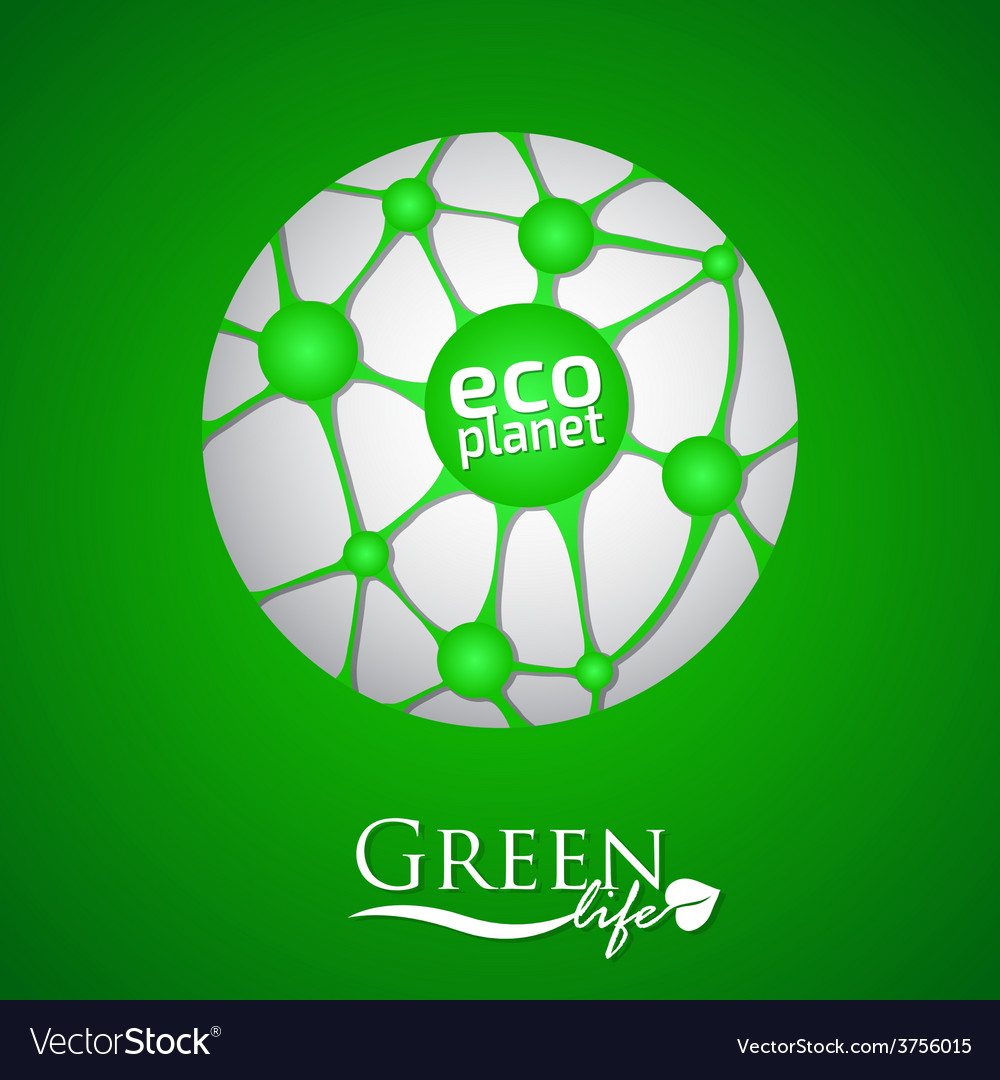 Planet with green eco net and icon vector | Price: 1 Credit (USD $1)