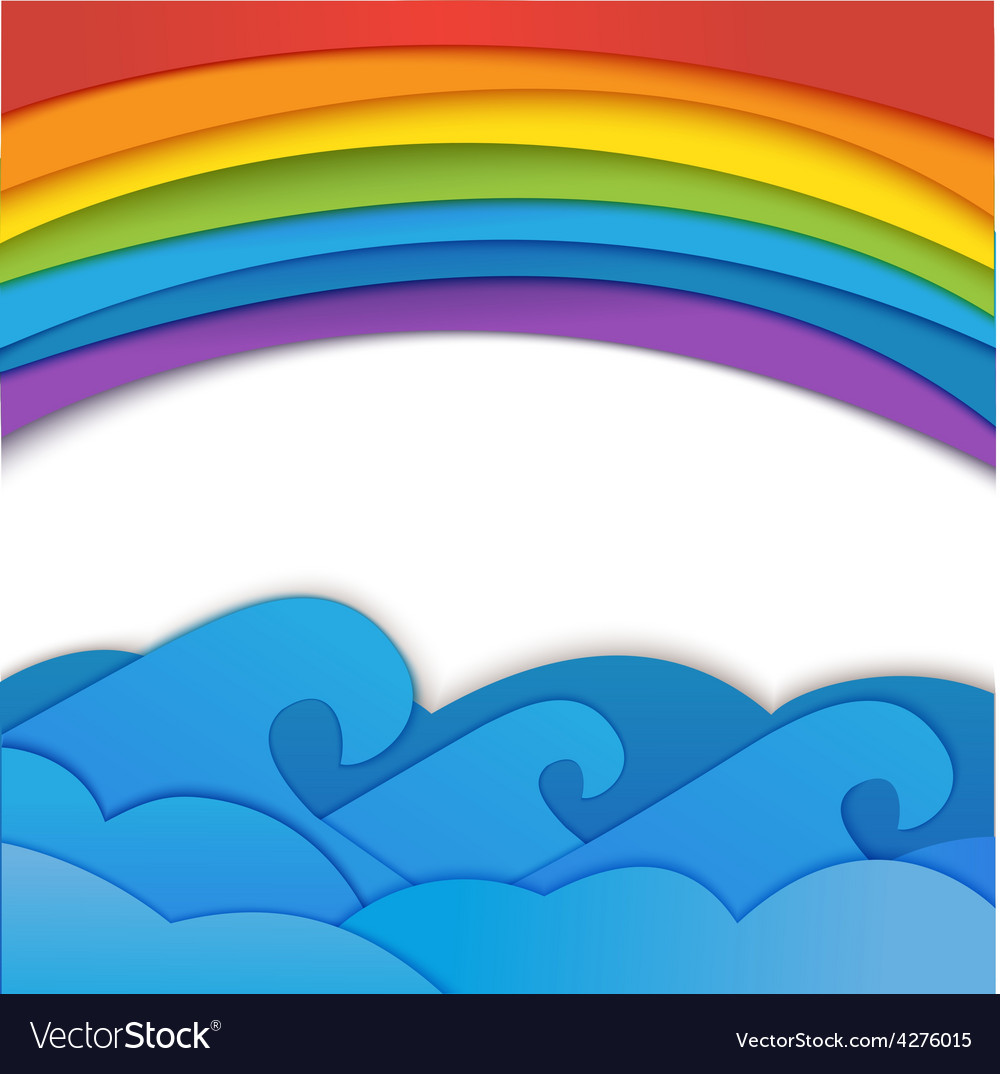Rainbow background with sea waves vector | Price: 1 Credit (USD $1)