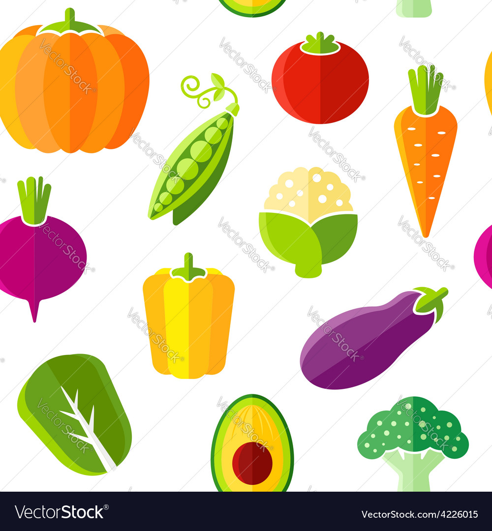 Seamless pattern with fresh organic vegetables vector | Price: 1 Credit (USD $1)