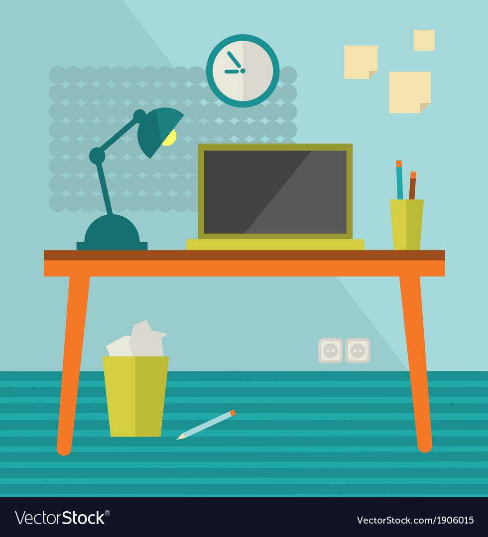 Workplace with moder computer on retro table vector | Price: 1 Credit (USD $1)