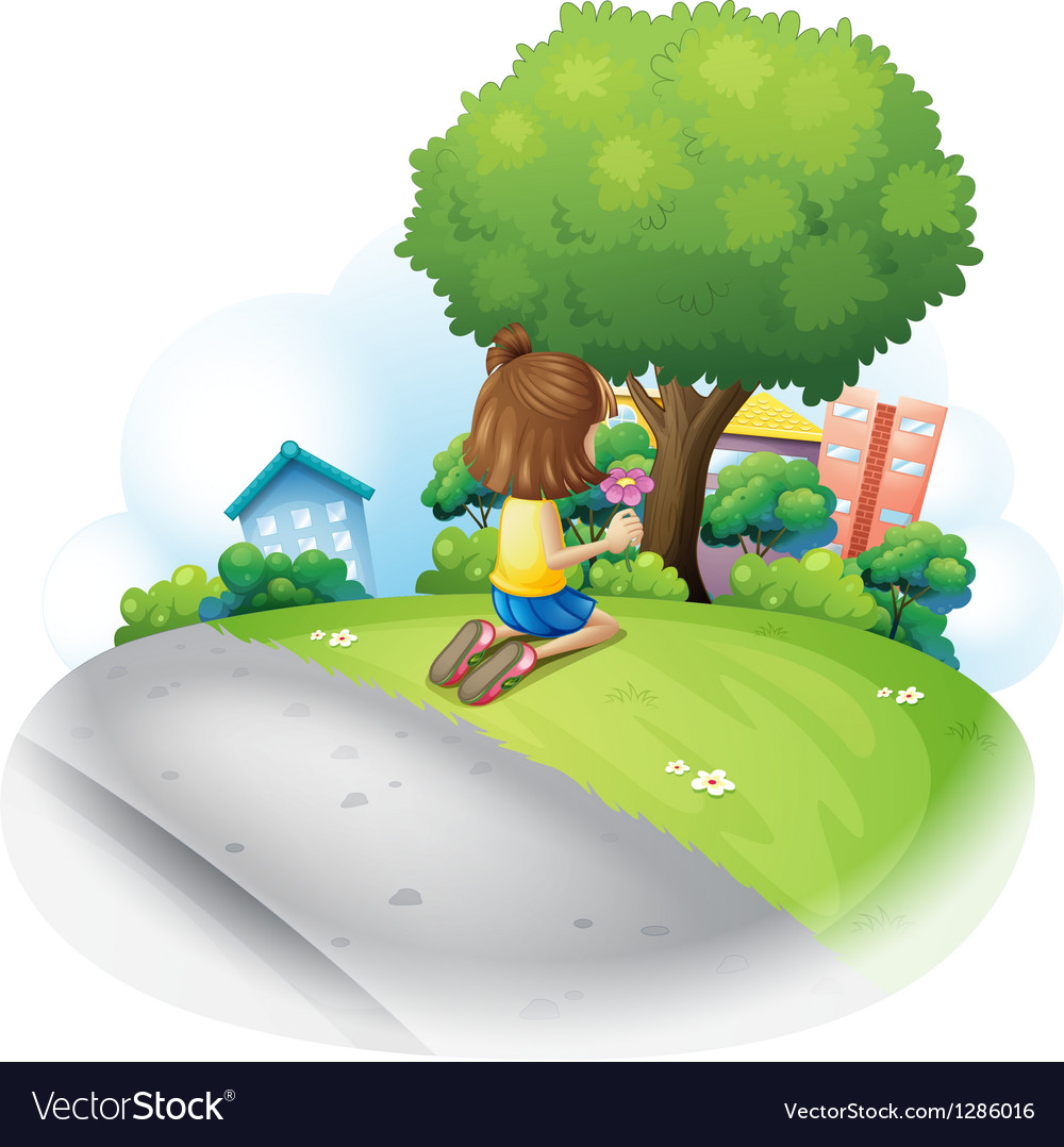 A young girl picking a flower in the garden vector | Price: 1 Credit (USD $1)