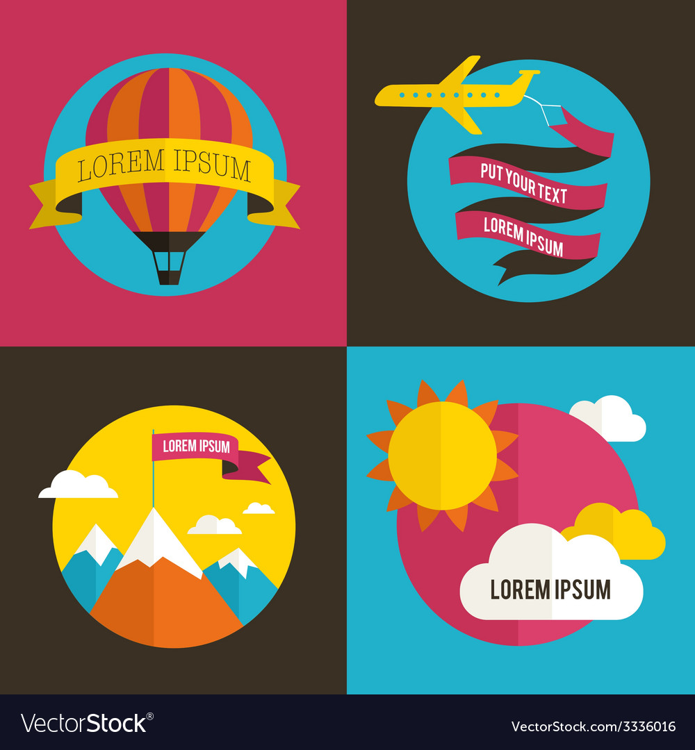 Air balloon sun and airplane backgrounds vector | Price: 1 Credit (USD $1)