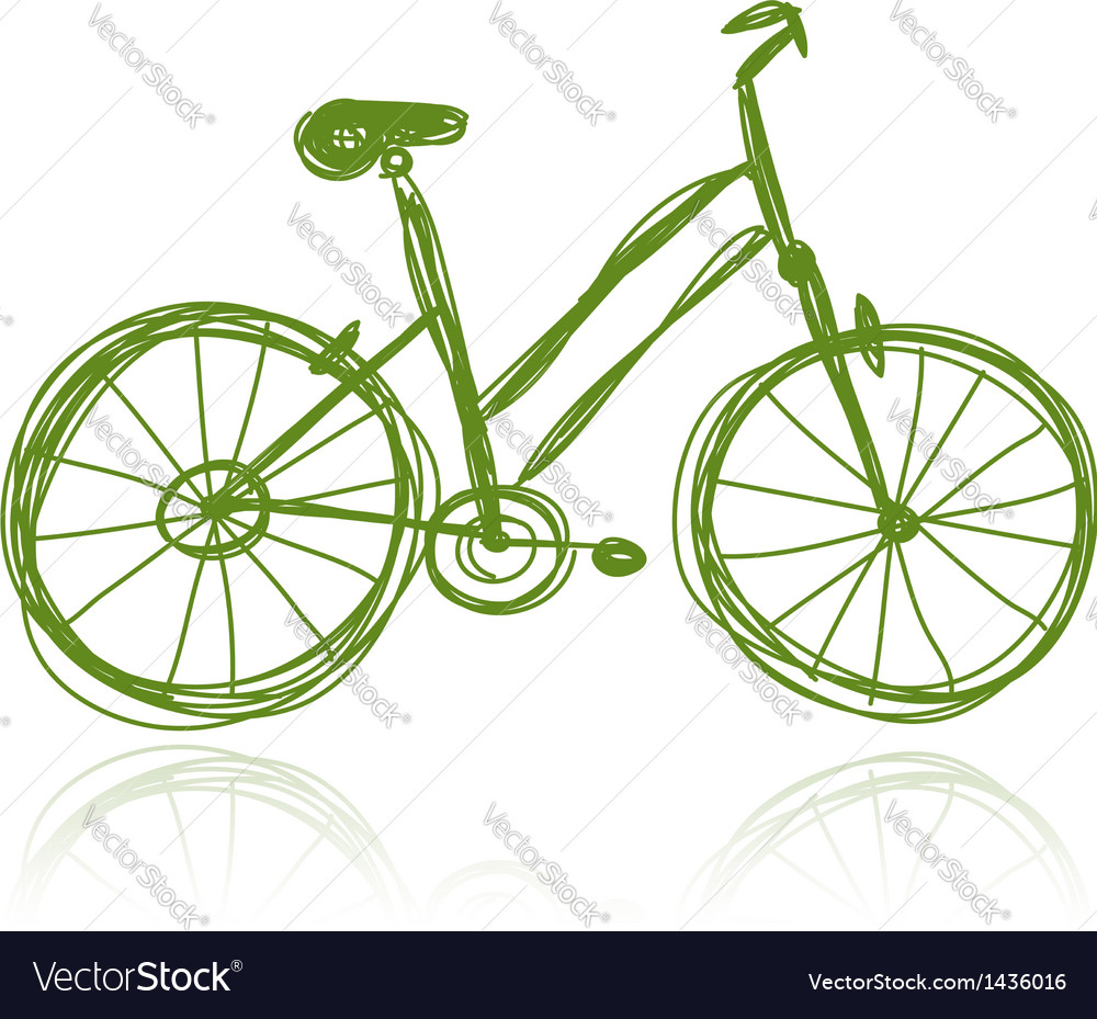Bicycle green sketch for your design vector | Price: 1 Credit (USD $1)
