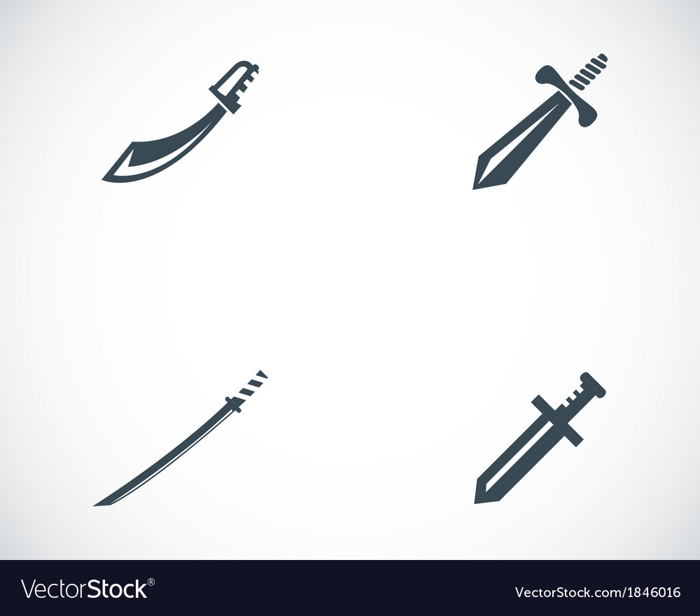 Black sword icons set vector | Price: 1 Credit (USD $1)