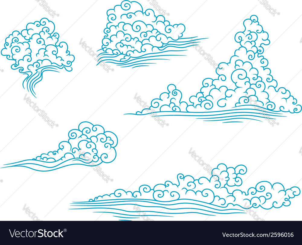 Blue and fluffy clouds set vector | Price: 1 Credit (USD $1)