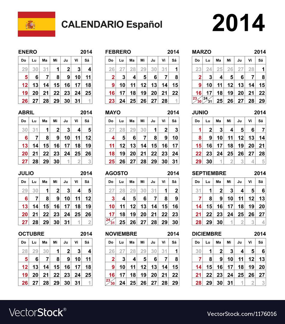 Calendar 2014 spain type 21 vector | Price: 1 Credit (USD $1)