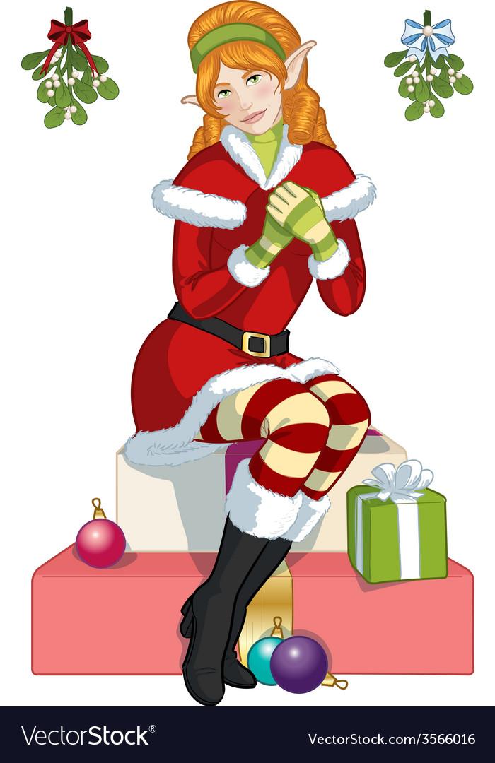 Christmas elf red caucasian girl with mistletoe vector   Price: 1 Credit (USD $1)