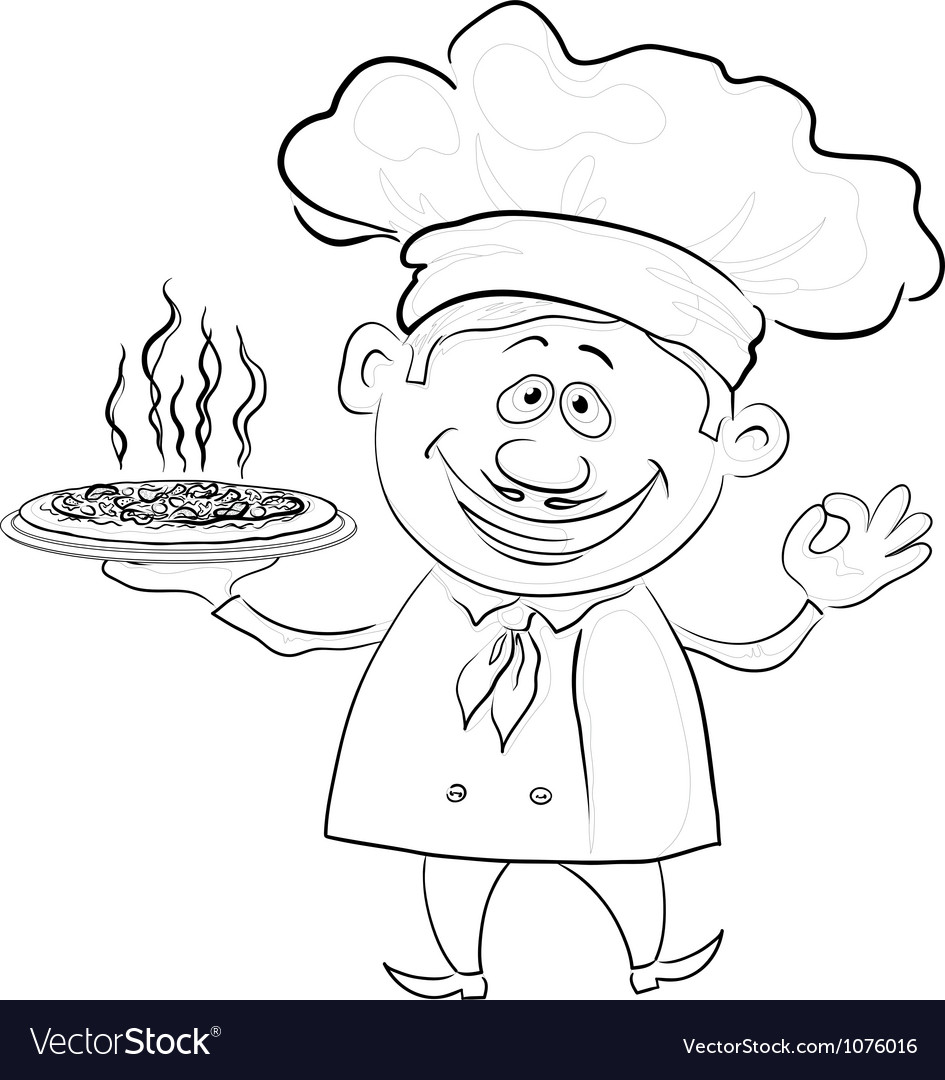 Cook holds a hot pizza contour vector | Price: 1 Credit (USD $1)