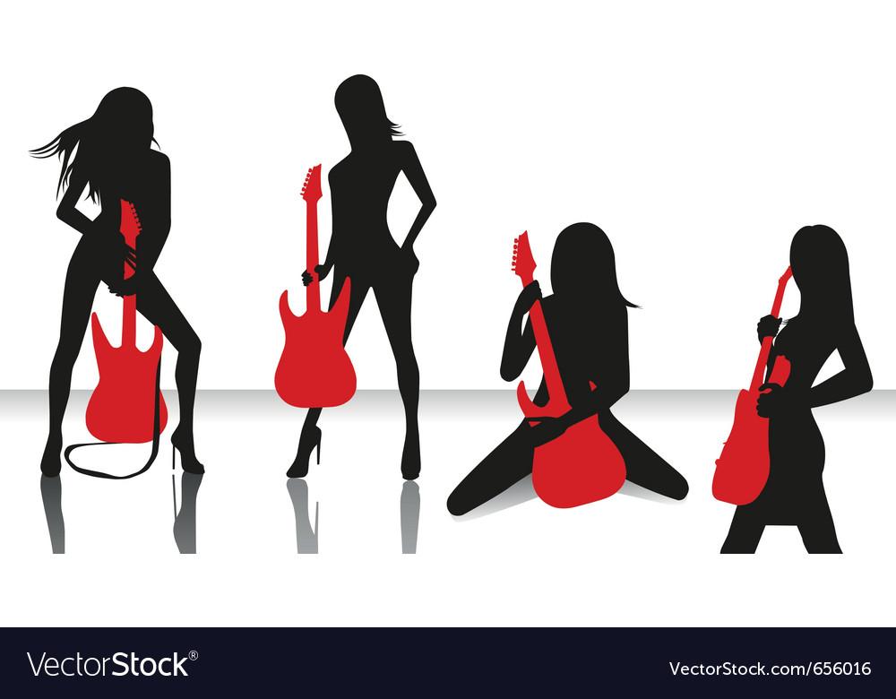 Elegant silhouette girls vector | Price: 1 Credit (USD $1)