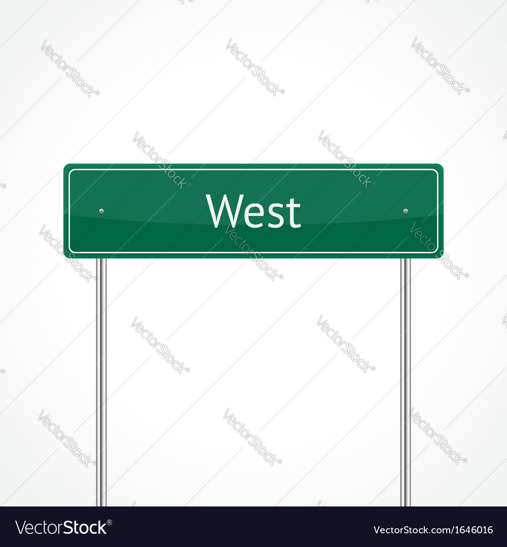 Green west traffic sign vector | Price: 1 Credit (USD $1)