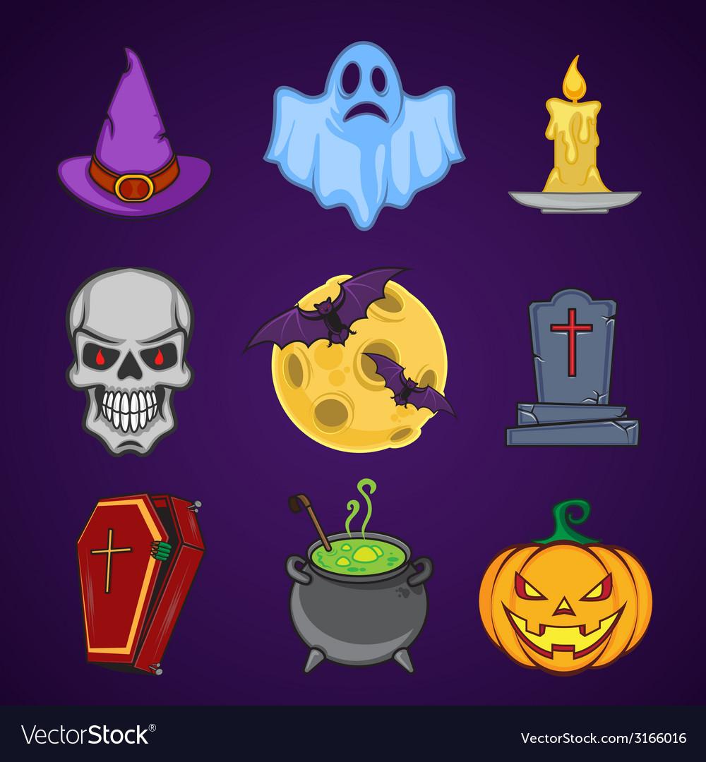 Halloween cartoon icon objects vector | Price: 1 Credit (USD $1)
