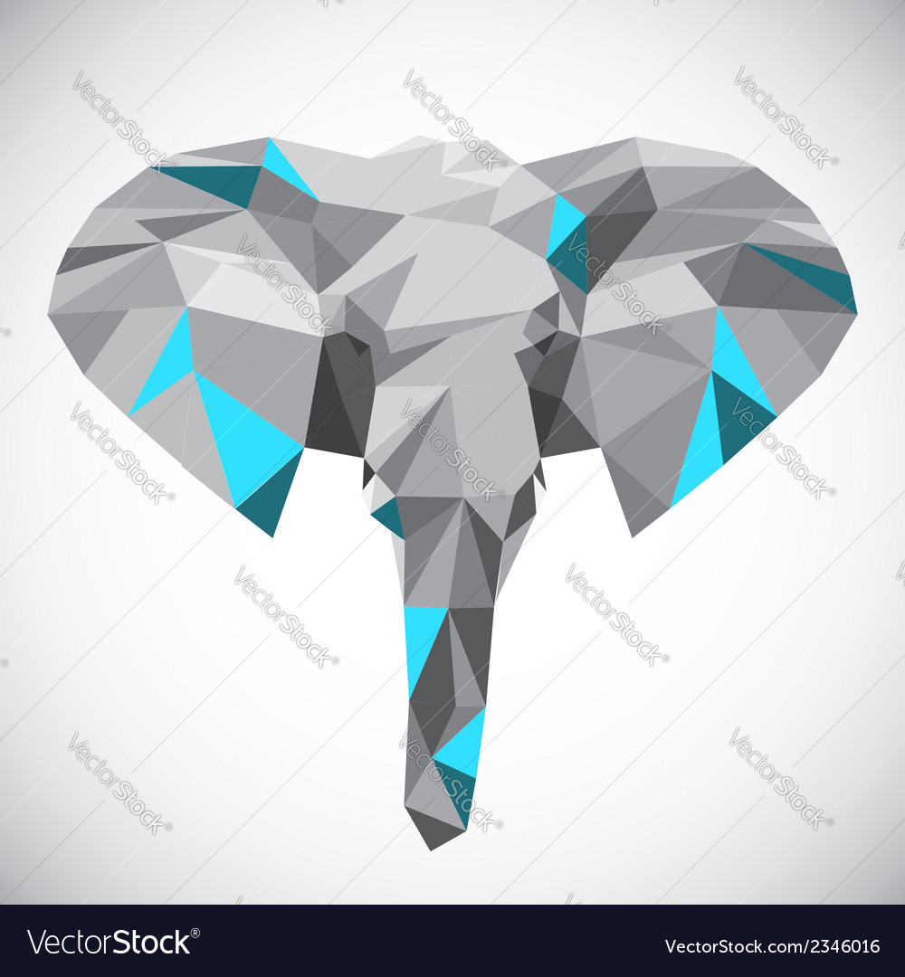 Low polygonal elephant head in popular style vector | Price: 1 Credit (USD $1)
