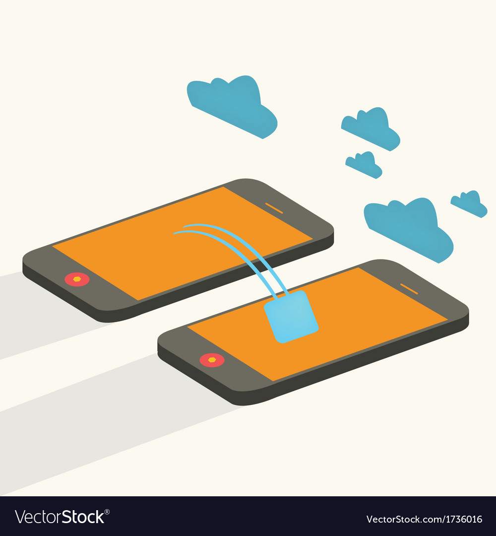 Mobile devices cloud computing connected flat vector | Price: 1 Credit (USD $1)