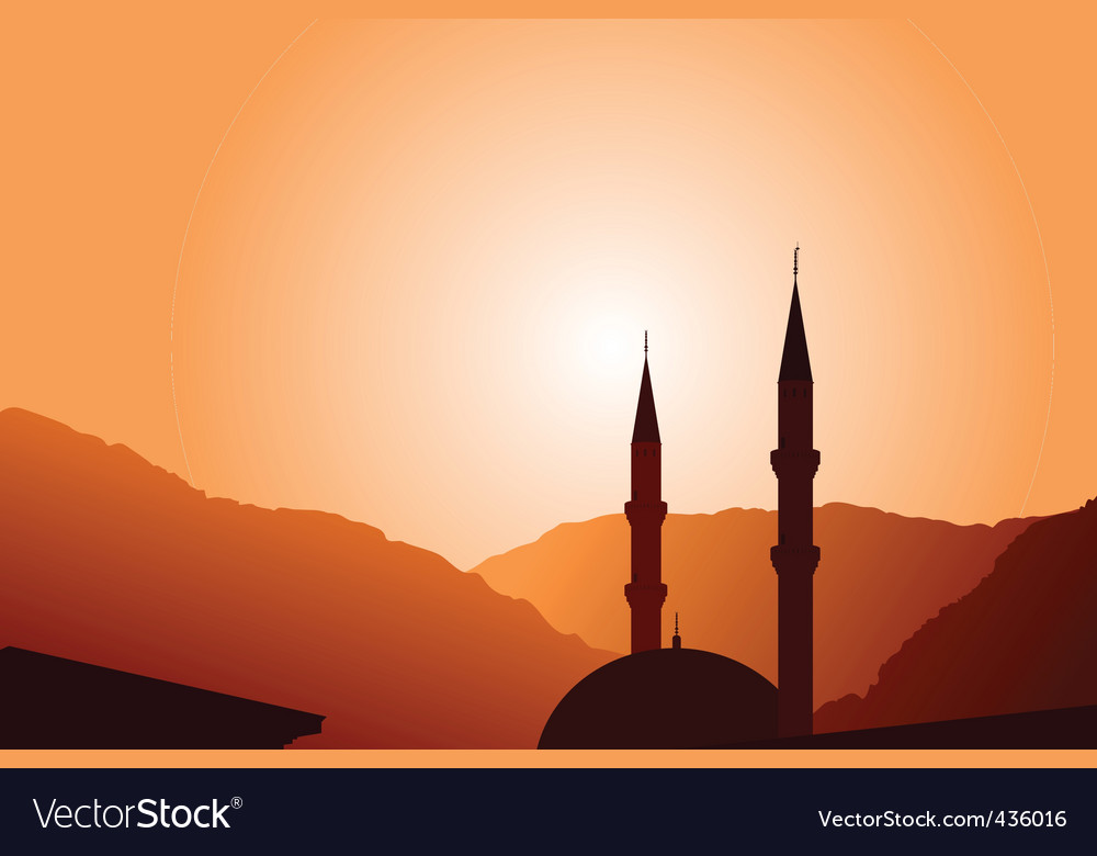 mosque silhouette at sunset vector | Price: 1 Credit (USD $1)