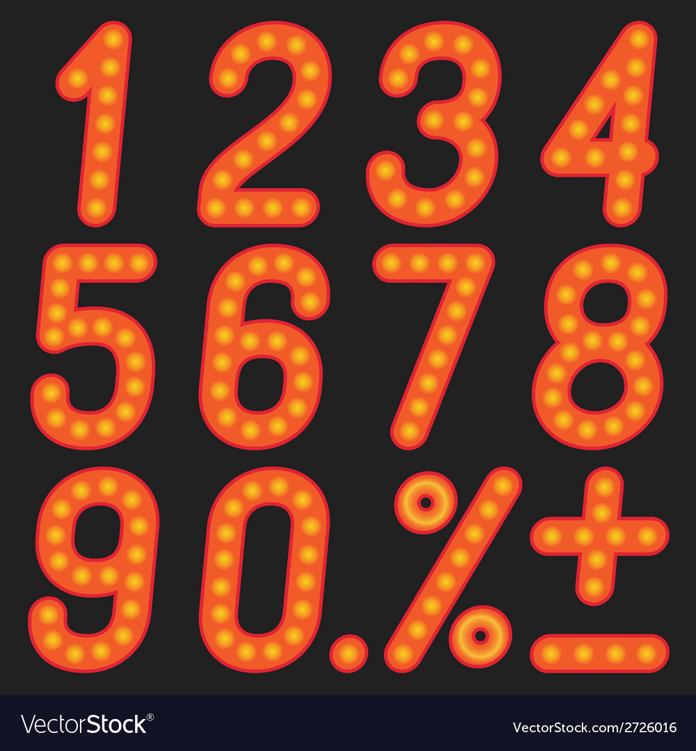 The numbers of lamps on a black background vector   Price: 1 Credit (USD $1)