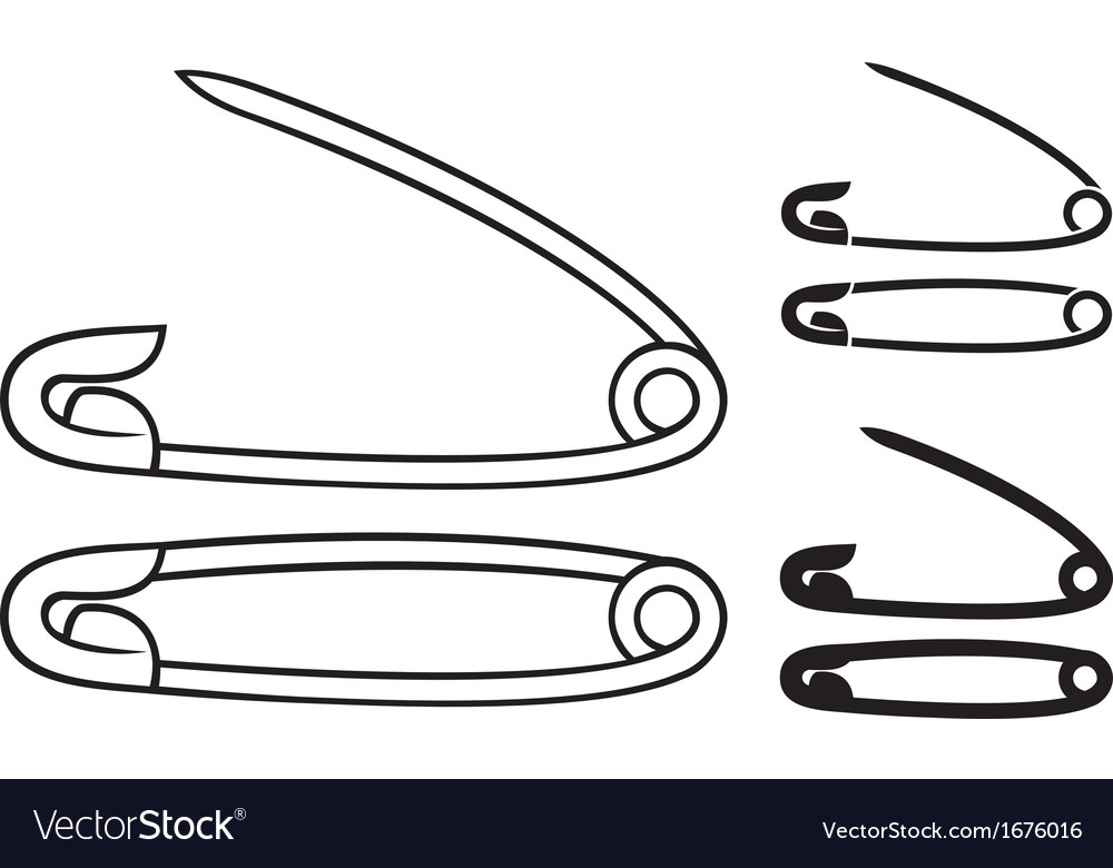 Open and closed safety pin vector | Price: 1 Credit (USD $1)