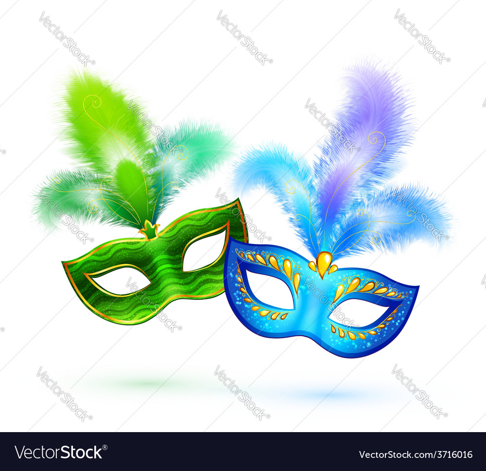 Pair of green and blue masks isolated on vector | Price: 1 Credit (USD $1)