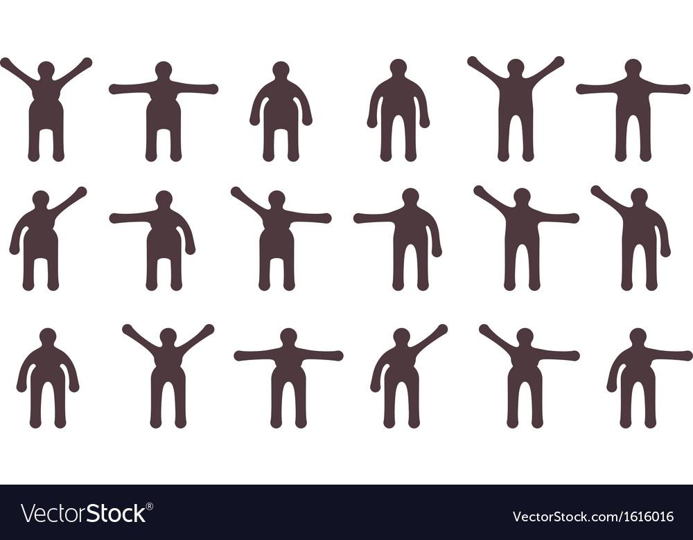 People minimalistic icons set symbols of standing vector   Price: 1 Credit (USD $1)