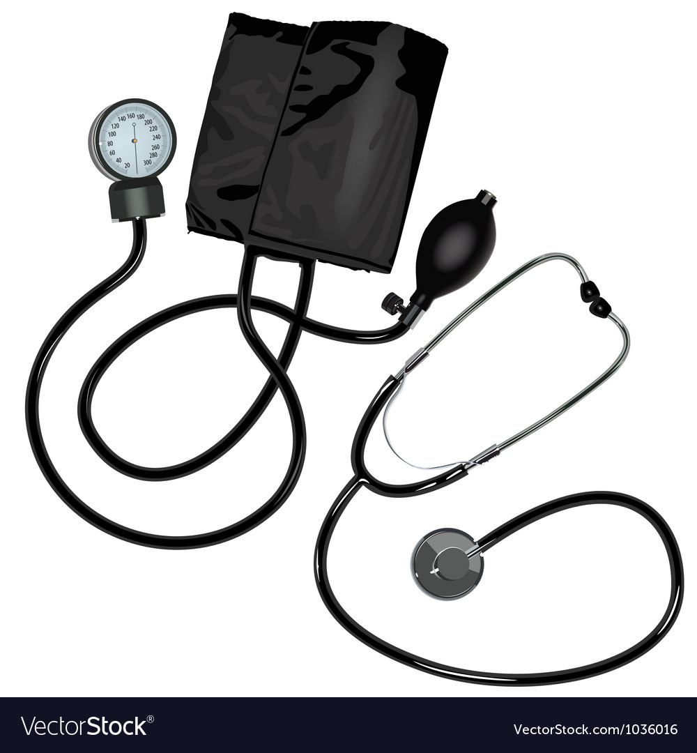 The stethoscope and pressure gauge device on white vector | Price: 1 Credit (USD $1)