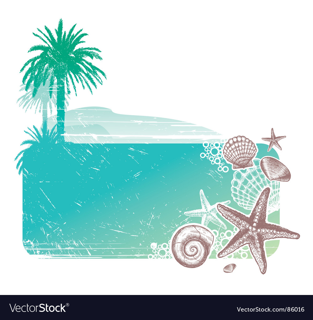 Tropical landscape and sea vector | Price: 1 Credit (USD $1)