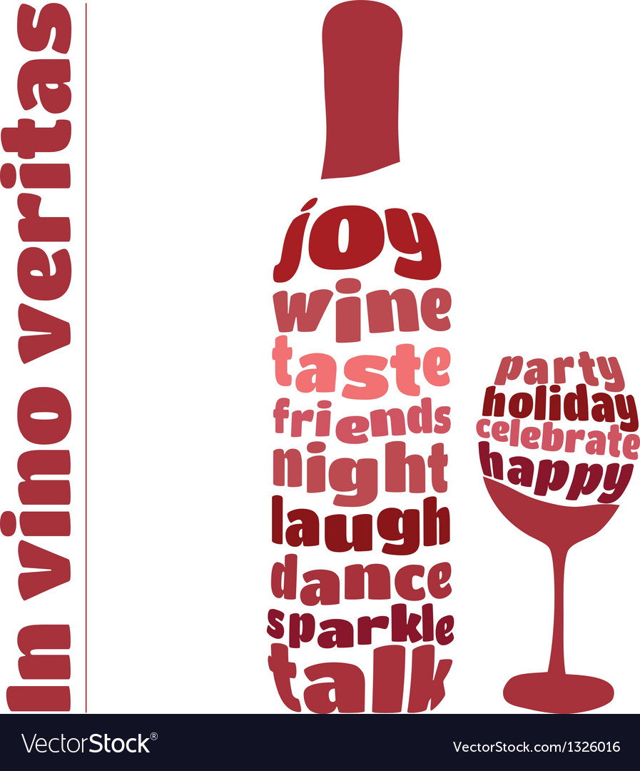 Wine bottle and glass in typography style vector | Price: 1 Credit (USD $1)
