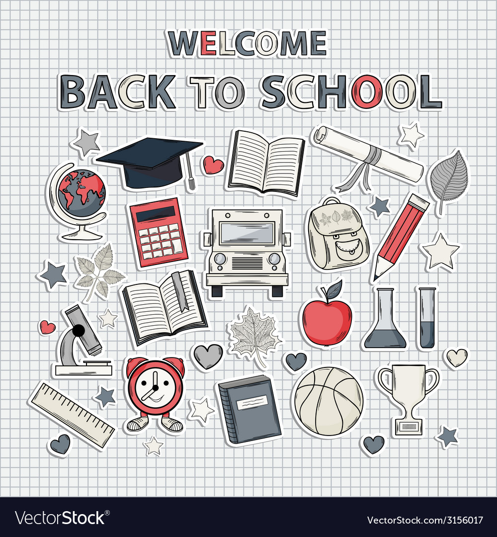 Back to school set on the notebook sheet vector | Price: 1 Credit (USD $1)