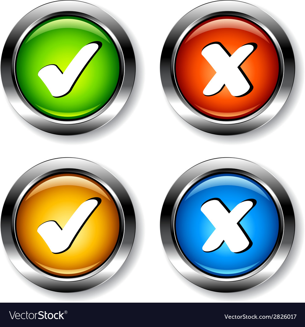 Chrome checkmarks buttons vector | Price: 1 Credit (USD $1)