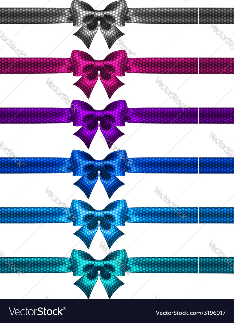 Festive polka dot bow knots with ribbons vector | Price: 1 Credit (USD $1)