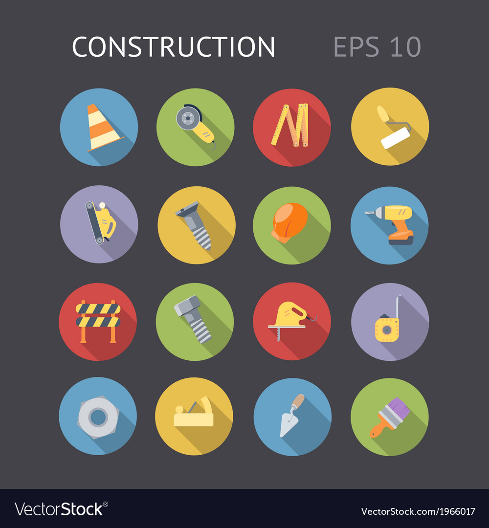 Flat icons for construction and industry vector | Price: 1 Credit (USD $1)