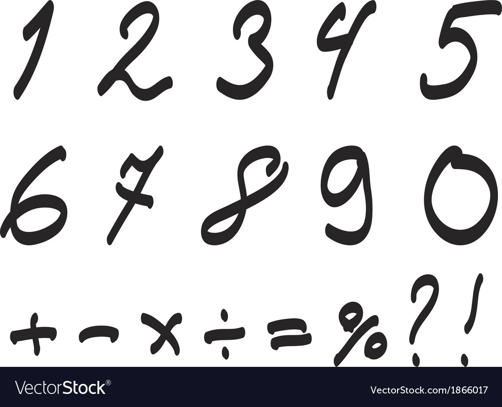 Font handwritten by toddler arabic numerals set vector | Price: 1 Credit (USD $1)