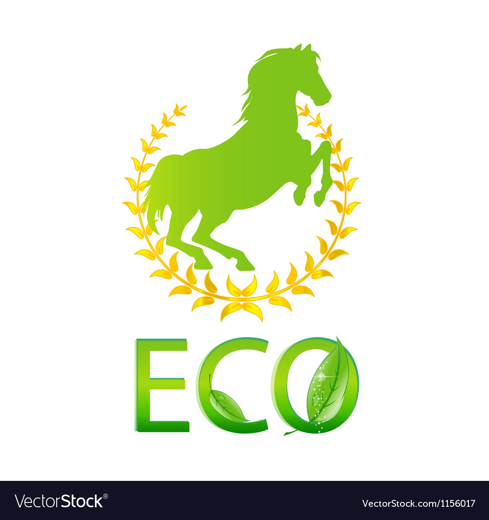 Glass eco symbol green color isolated vector | Price: 1 Credit (USD $1)