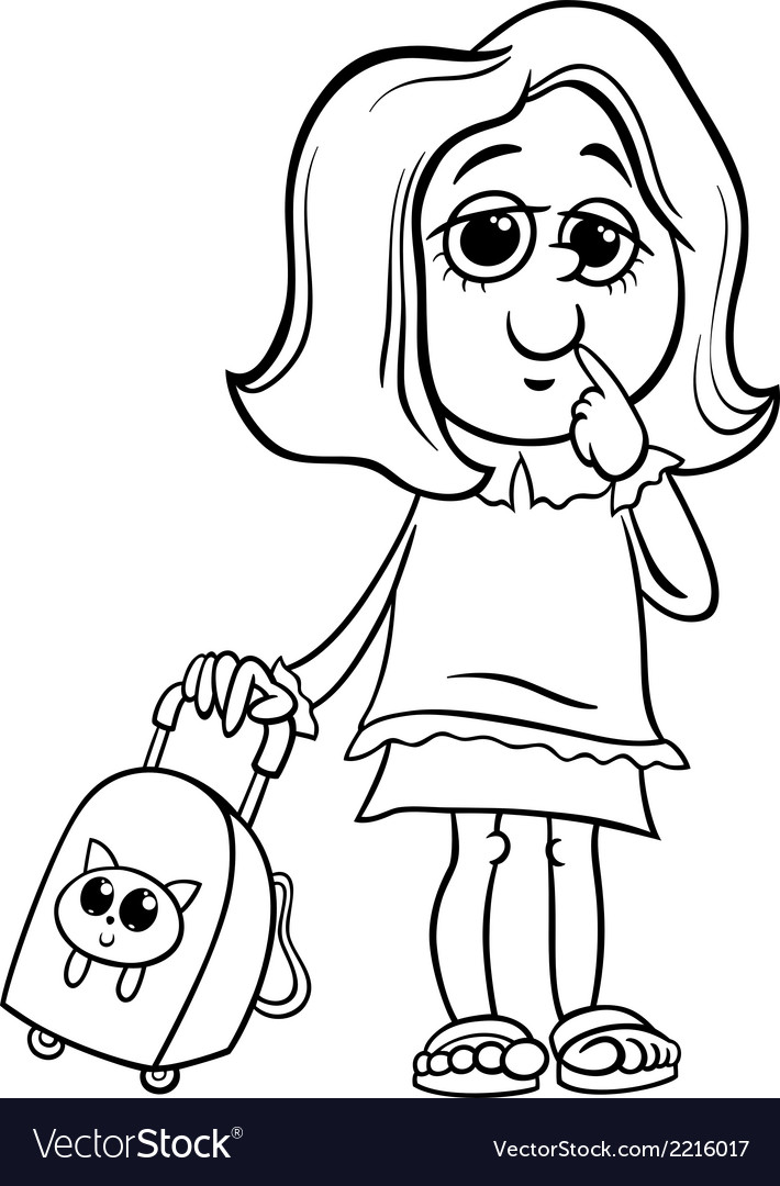 Grade school girl coloring page vector | Price: 1 Credit (USD $1)