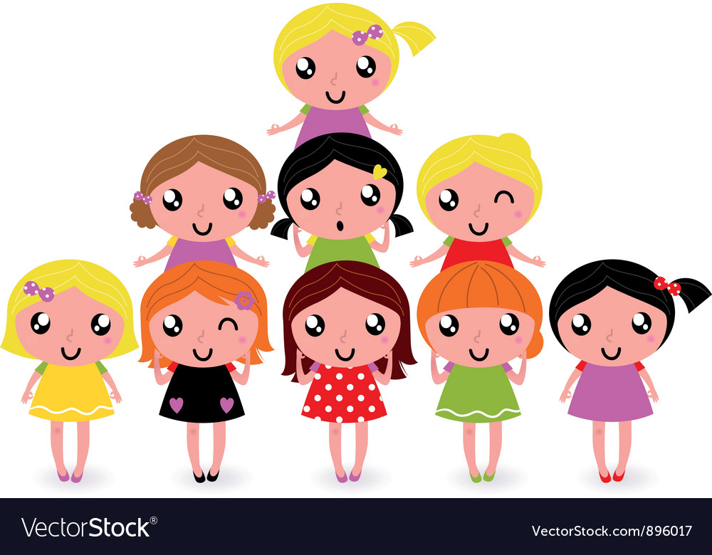 Happy little girls group isolated on white vector | Price: 3 Credit (USD $3)