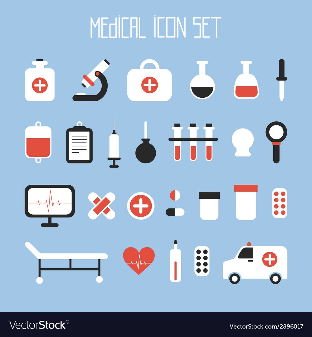 Medical and health colorful icons set design vector | Price: 1 Credit (USD $1)