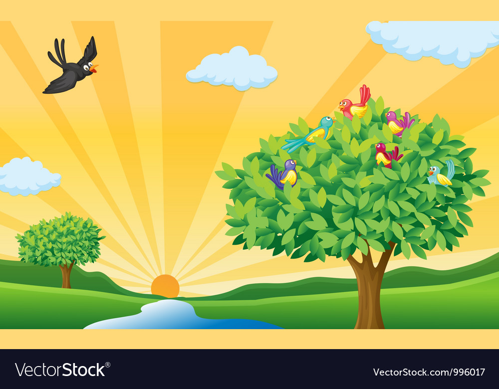 Nature landscape scene vector | Price: 3 Credit (USD $3)