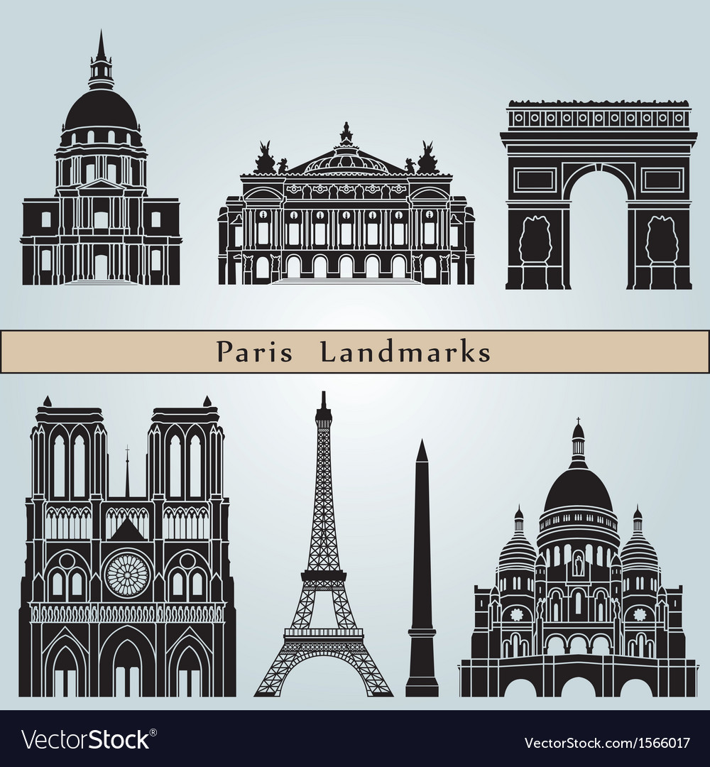 Paris landmarks and monuments vector | Price: 3 Credit (USD $3)