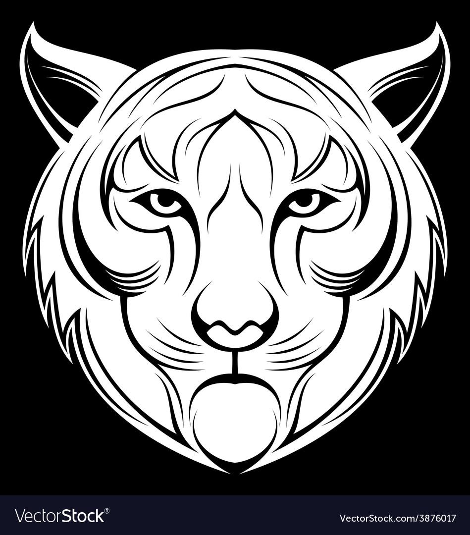 Tribal white tiger head vector | Price: 1 Credit (USD $1)