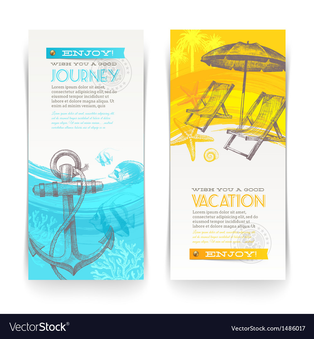 Vacation and travel vertical banners vector | Price: 1 Credit (USD $1)