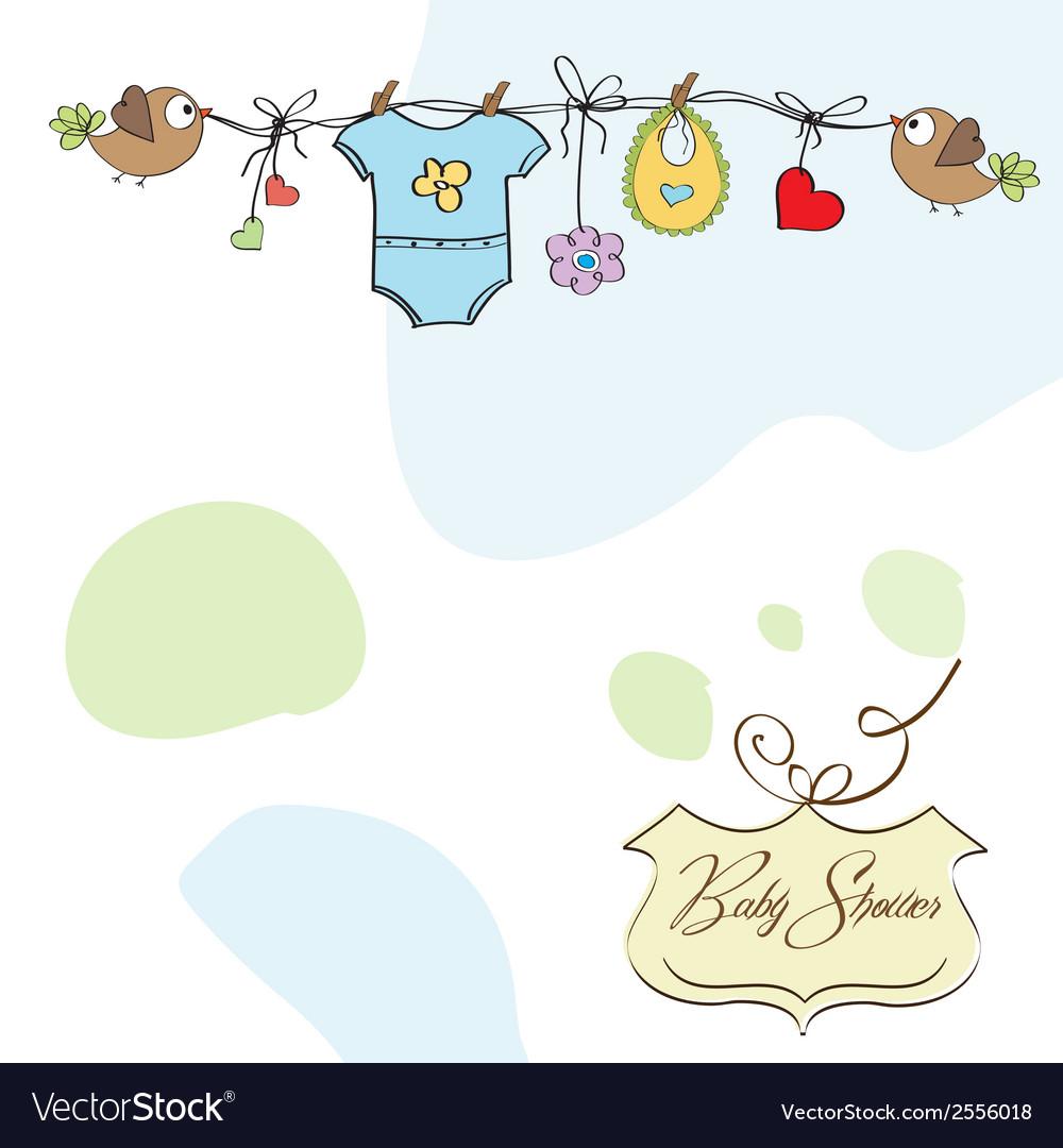 Baby boy shower card vector   Price: 1 Credit (USD $1)
