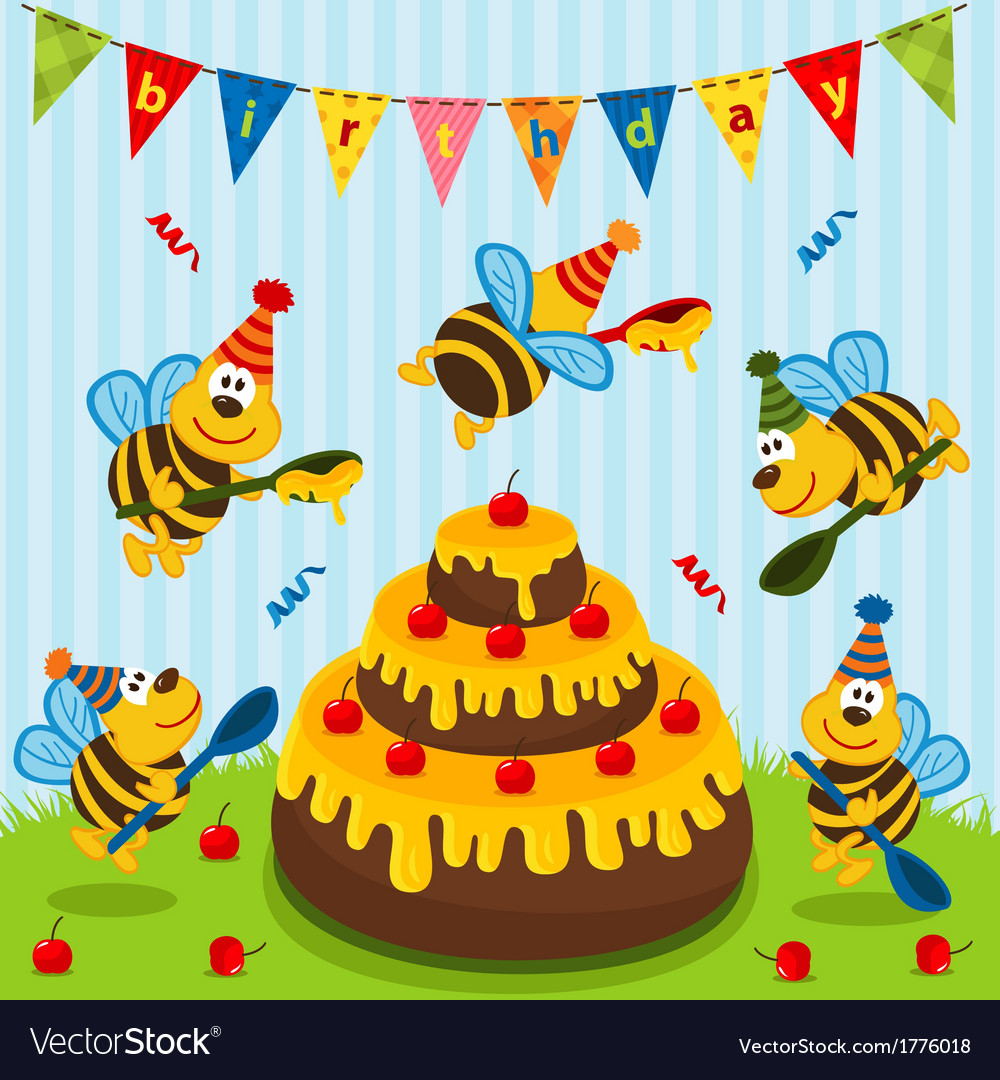 Birthday bees vector | Price: 1 Credit (USD $1)