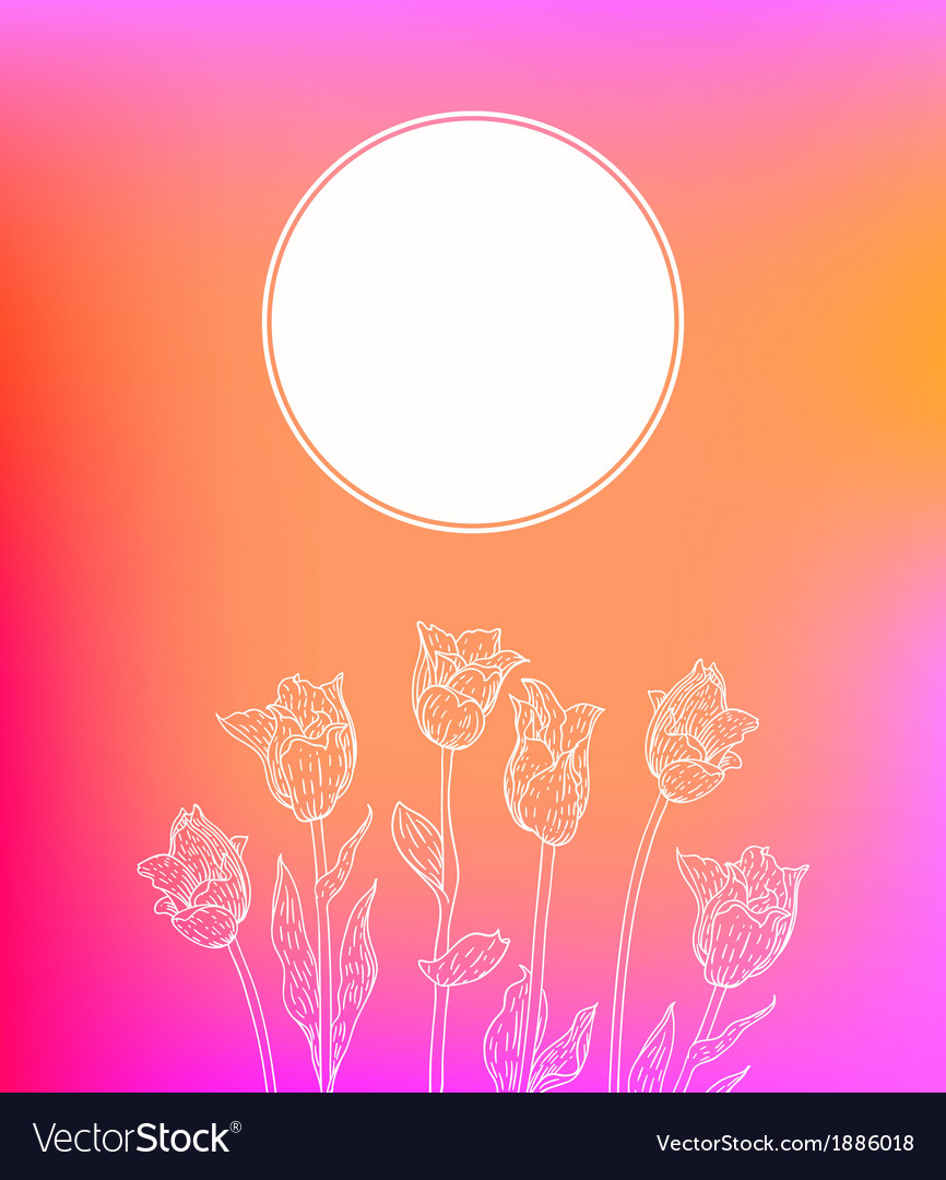 Card with hand drawn tulips on pink glow vector | Price: 1 Credit (USD $1)