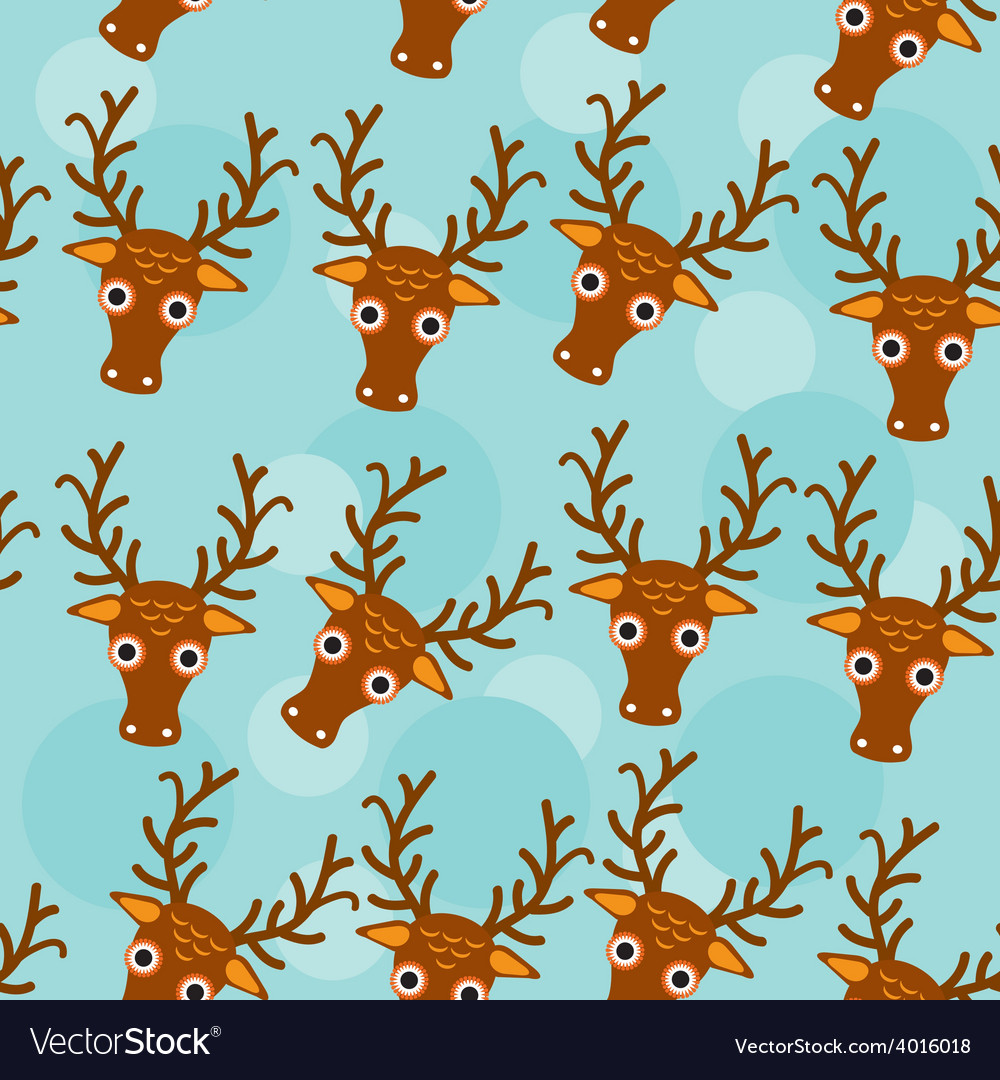 Deer seamless pattern with funny cute animal face vector | Price: 1 Credit (USD $1)
