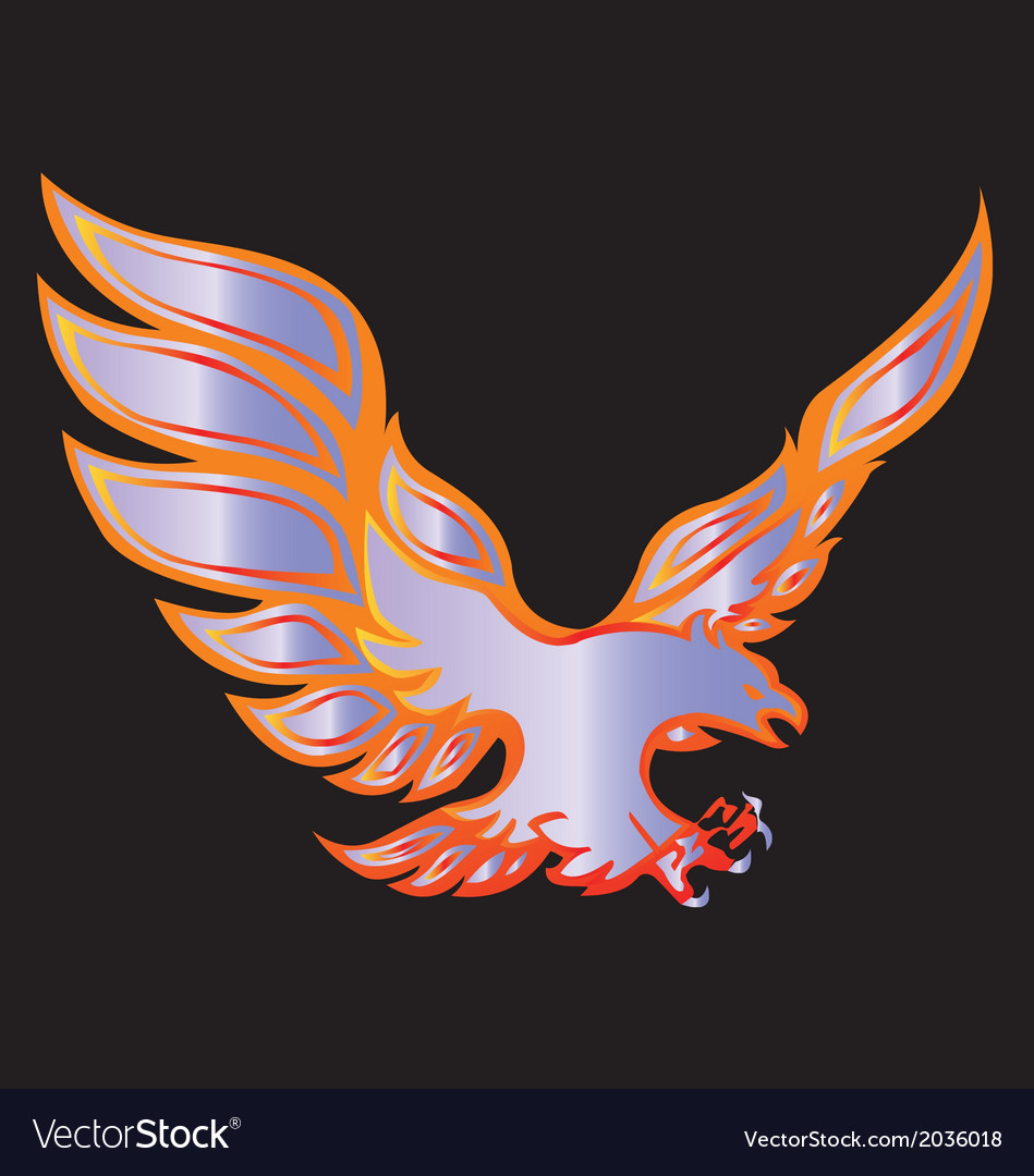 Fire eagle symbolic design freedom concept vector | Price: 1 Credit (USD $1)