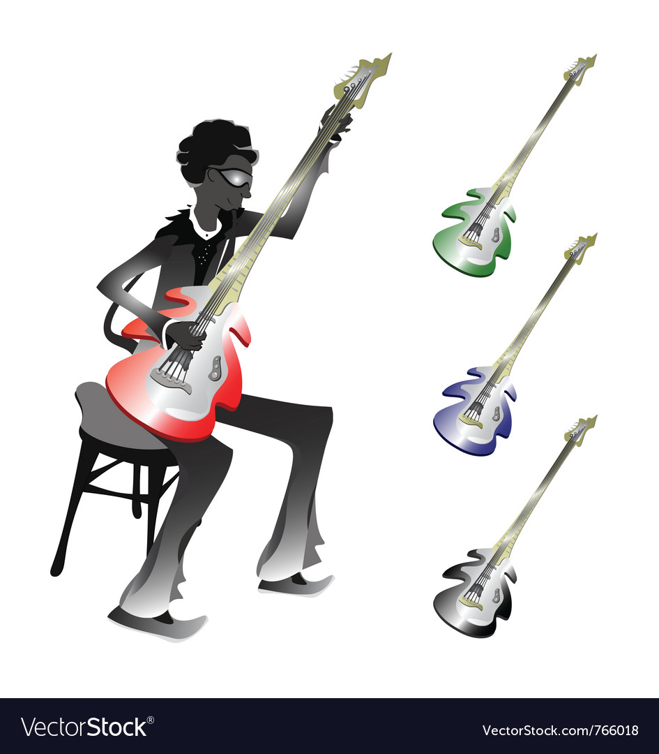 Groovy bassist vector | Price: 1 Credit (USD $1)