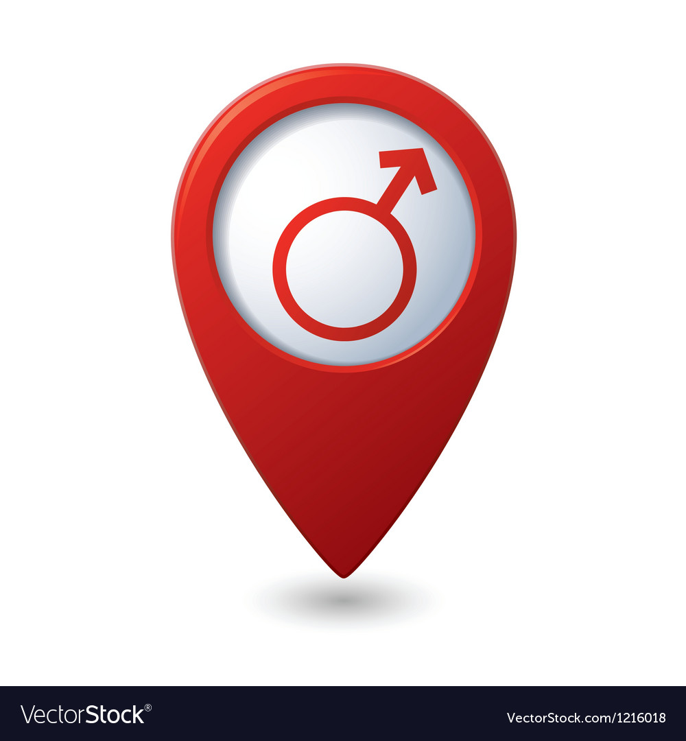 Map pointer with male symbol vector | Price: 1 Credit (USD $1)